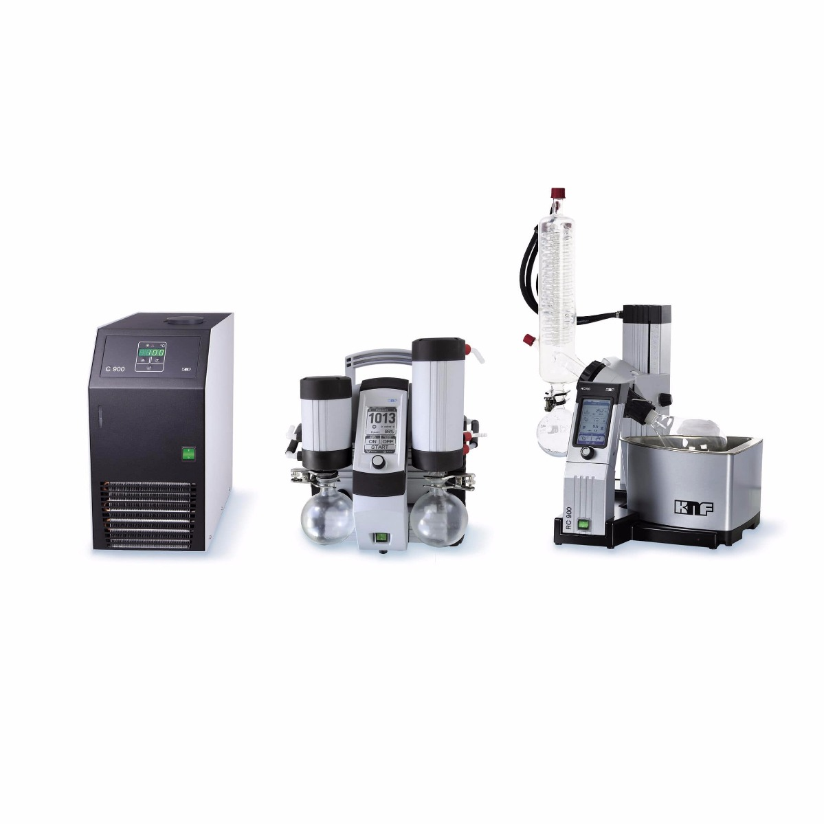 KNF RC600 Rotary Evaporator System, Includes SC920 Vaccum System, C900 Chiller, and Accessories