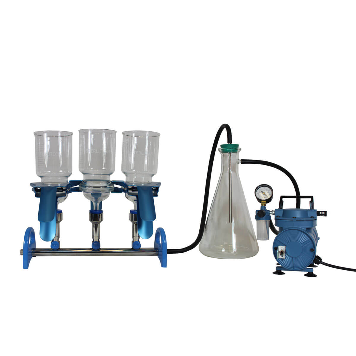 Sterlitech Manifold Kit for Botanical Extraction, Includes 90mm Glass Funnels, 3-place SS Manifold, Trap Bottle Assembly, Pump, and Tubing